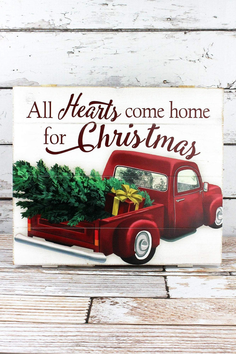 13.75 x 15.75 'Hearts Come Home' Truck Wood Wall Sign