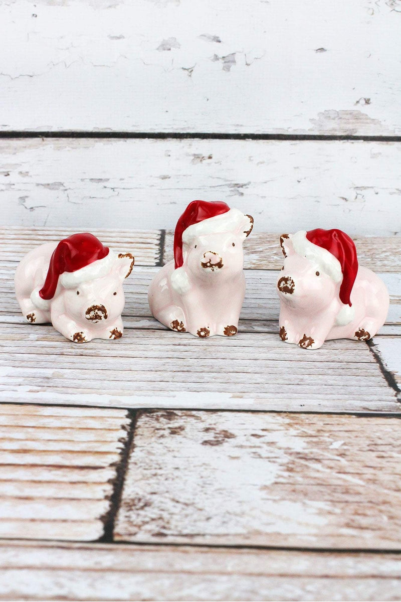 One Ceramic Christmas Pig - SHIPS ASSORTED