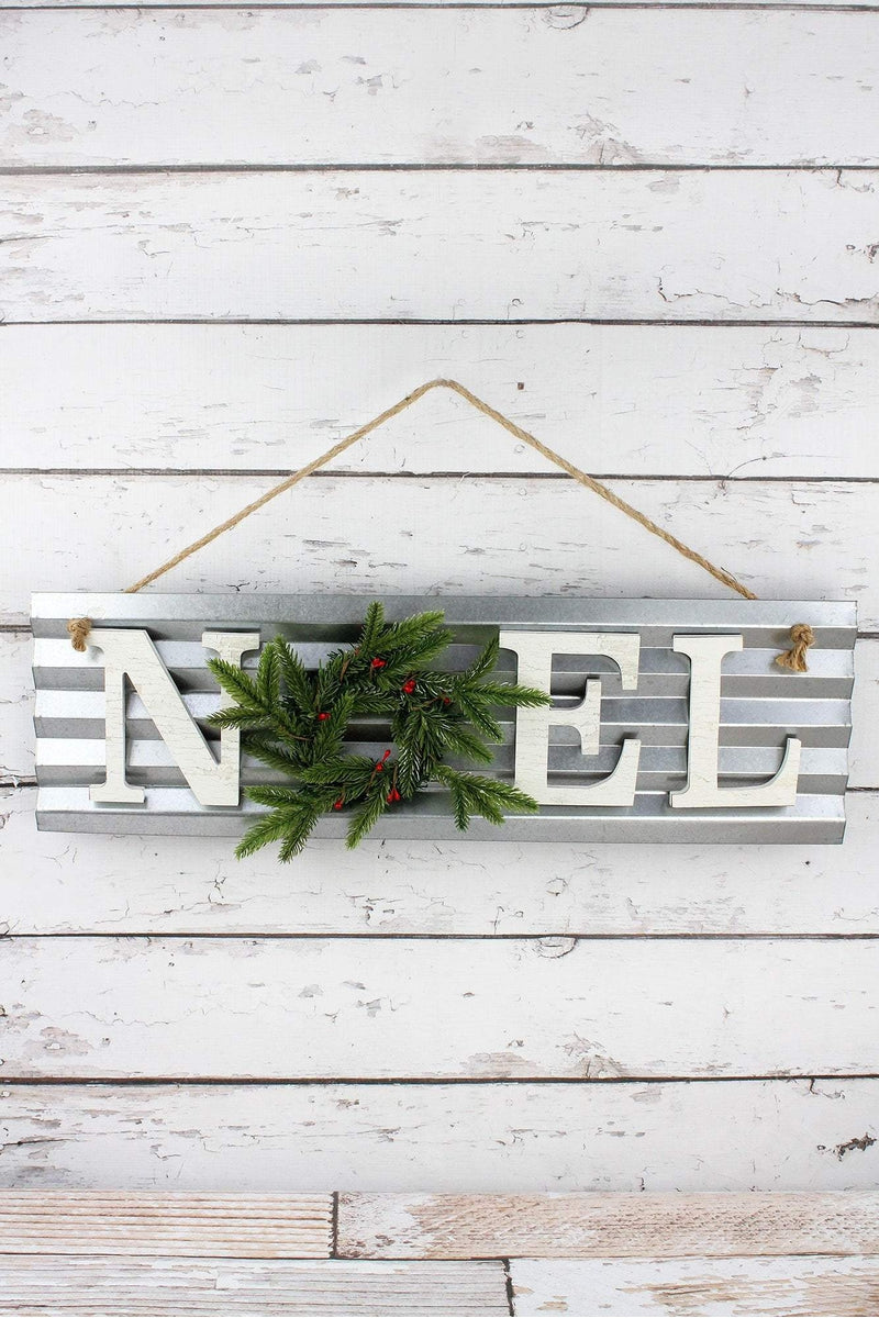 8 x 25.25 'Noel' Wreathed Metal Wall Sign