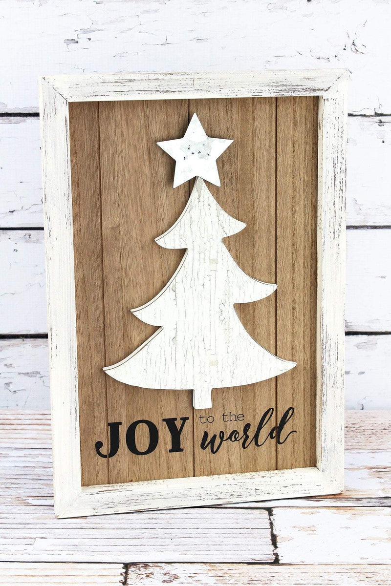 16 x 11 'Joy To The World' Christmas Tree Framed Wood Sign
