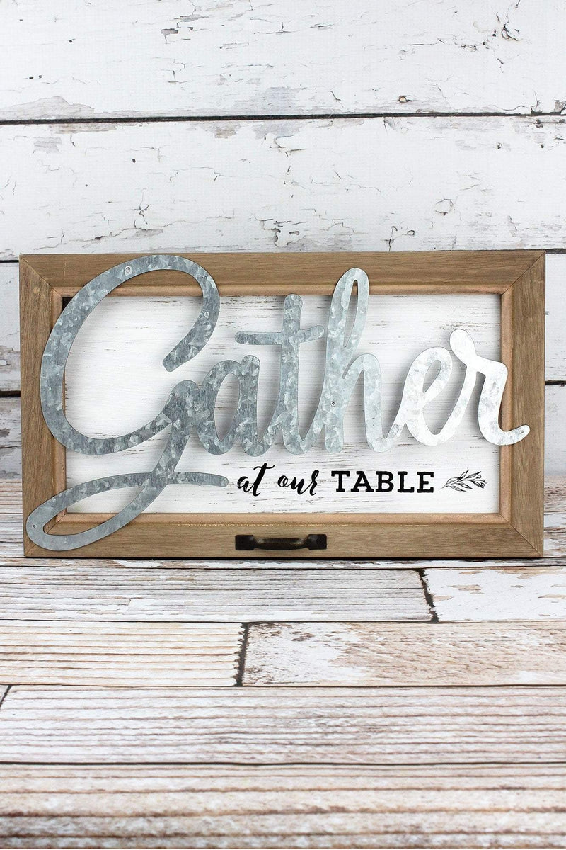 9.25 x 15.75 'Gather At Our Table' Wood and Metal Wall Sign