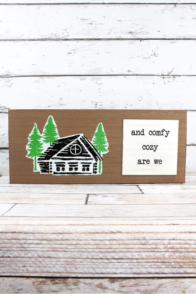 8 x 19 'Comfy Cozy Are We' Plaid Trimmed Wood Sign