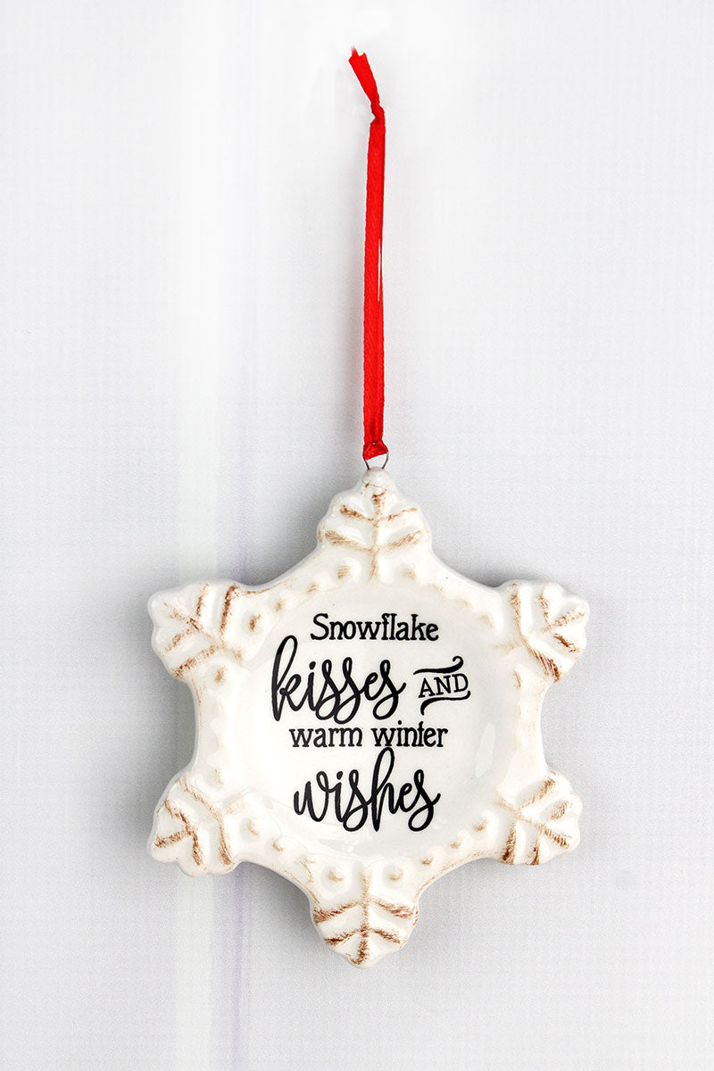 5 x 4.25 Ceramic 'Warm Winter Wishes' Snowflake Ornament
