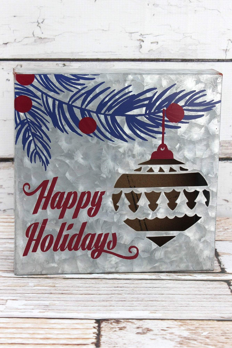 8 x 8 Light-Up 'Happy Holidays' Metal Sign