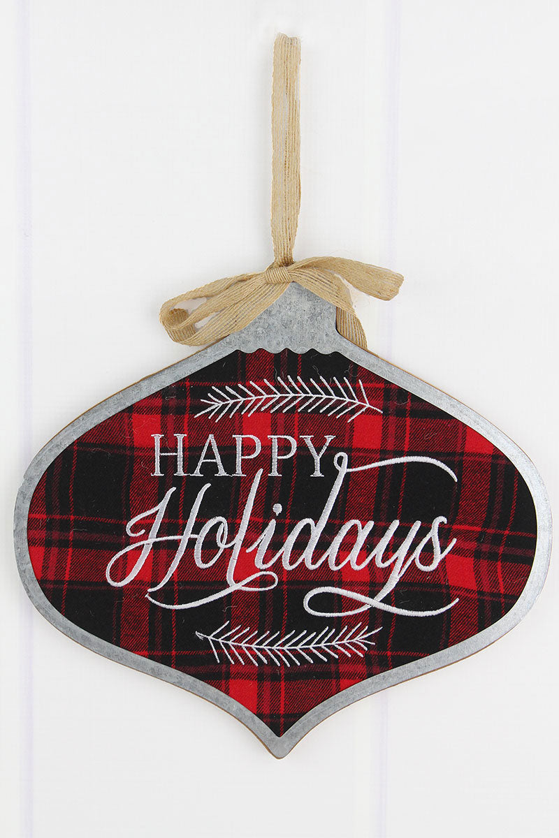 11 x 11.75 'Happy Holidays' Metal Trimmed Plaid Wood Ornament Wall Sign