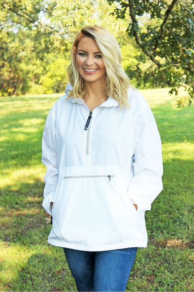 Charles River Lightweight Rain Pullover, White *Customizable! (Wholesale Pricing N/A)