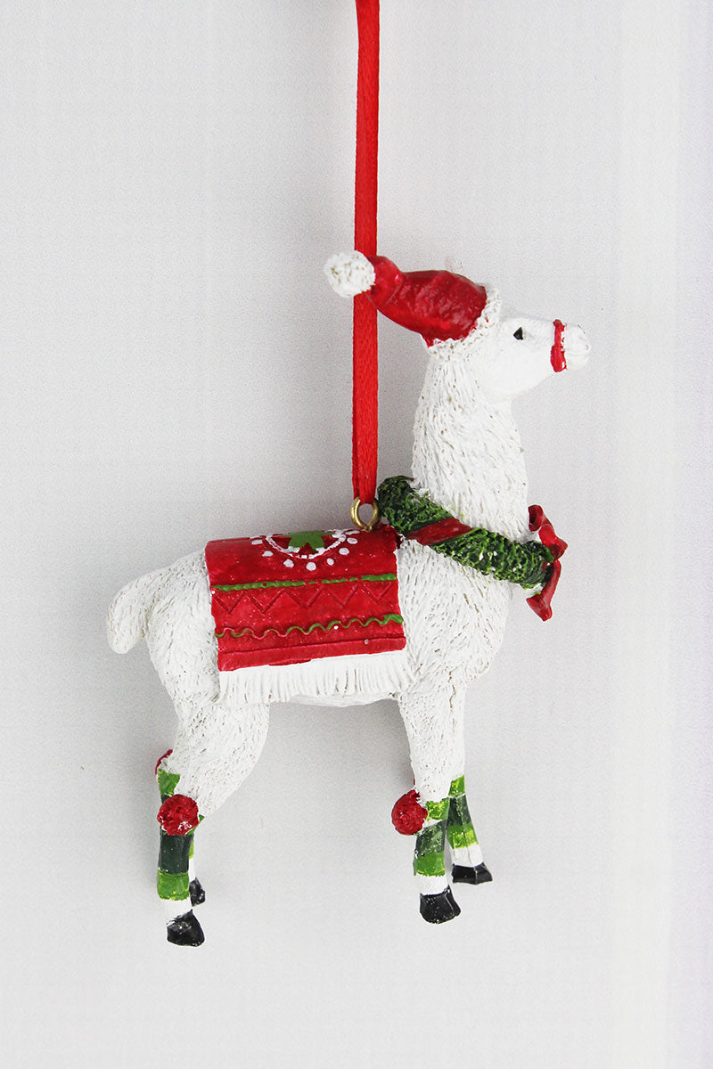 4 x 3 Llama with Wreath Resin Ornament