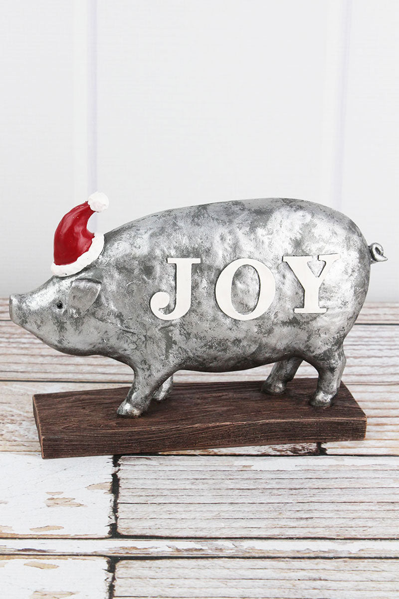 6.5 x 9.5 'Joy' Christmas Pig Tabletop Decor