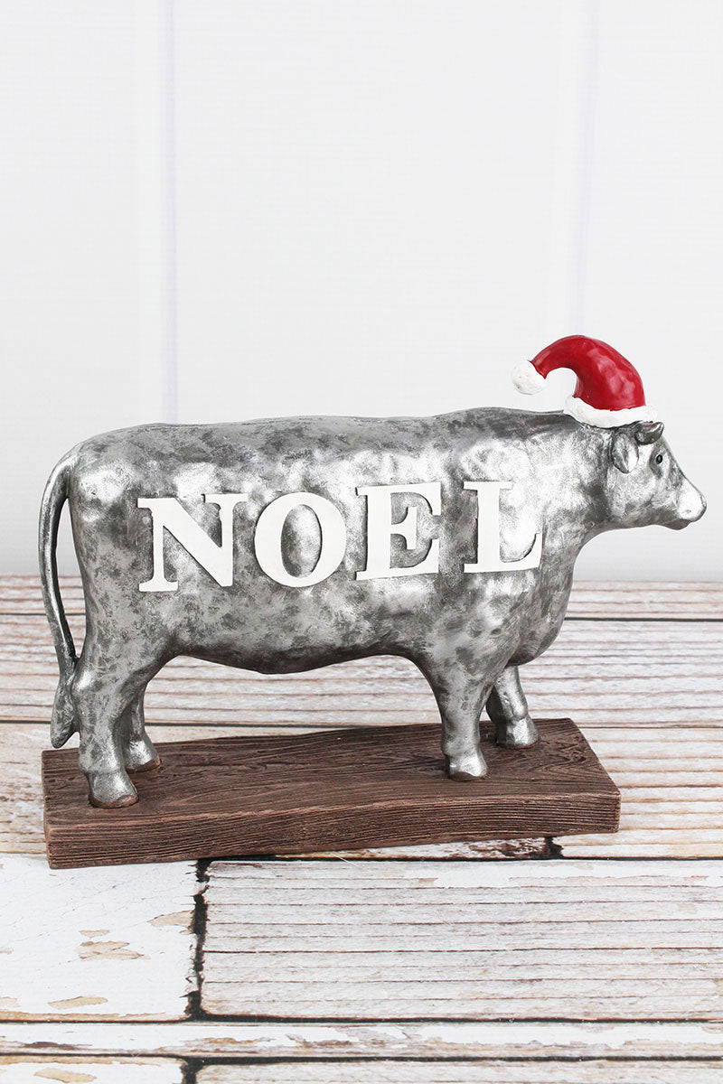 7.5 x 10 'Noel' Christmas Cow Tabletop Decor