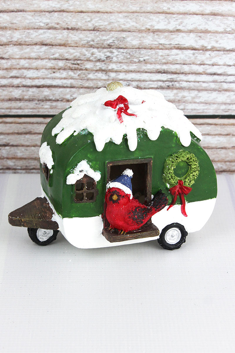4.75 x 6.5 Glitter Green Resin Light-Up Christmas Camper