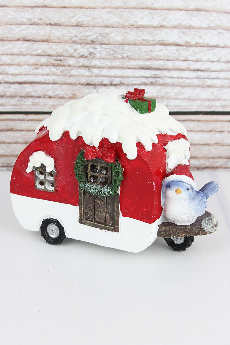 4.75 x 6.5 Glitter Red Resin Light-Up Christmas Camper