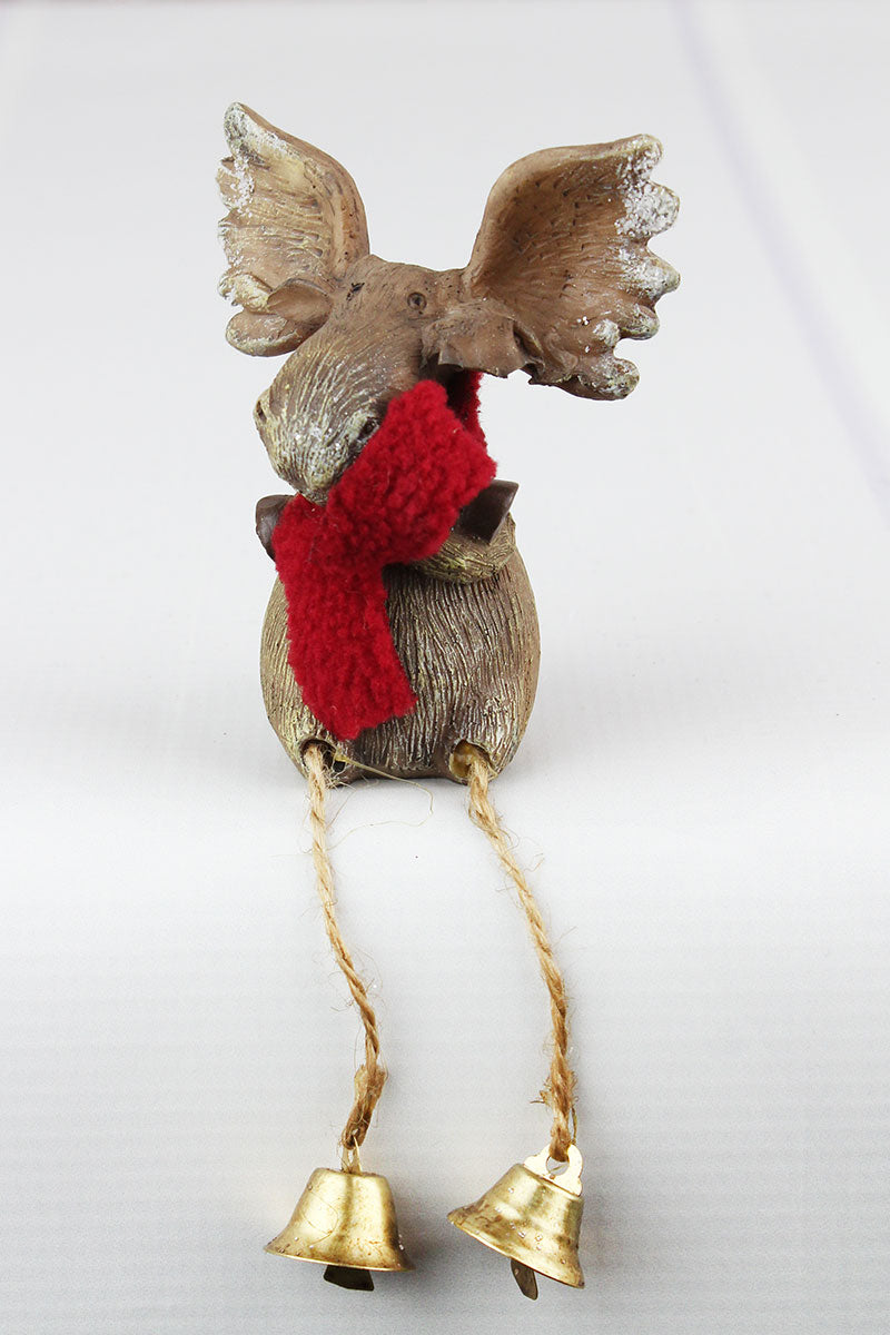 6.5 x 2.75 Christmas Arms Crossed Moose Resin Shelf Sitter