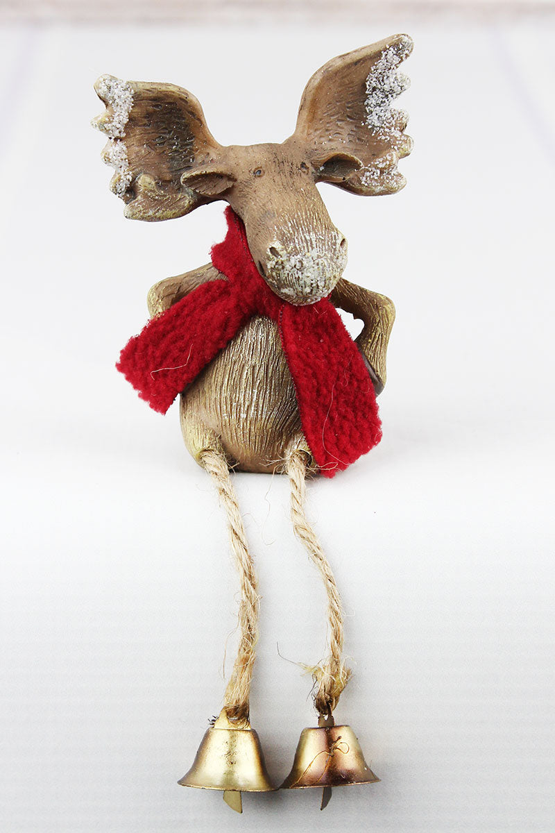 6.5 x 2.75 Christmas Moose with Hands on Hips Resin Shelf Sitter