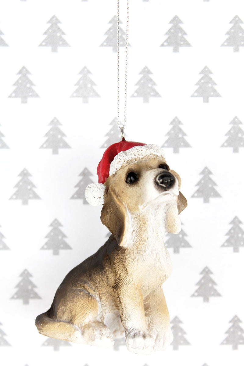 Festive Beagle Resin Ornament