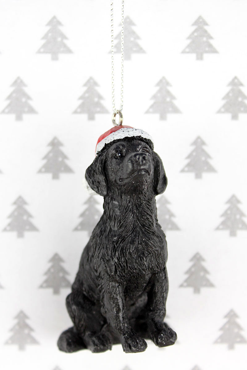 Festive Black Lab Resin Ornament