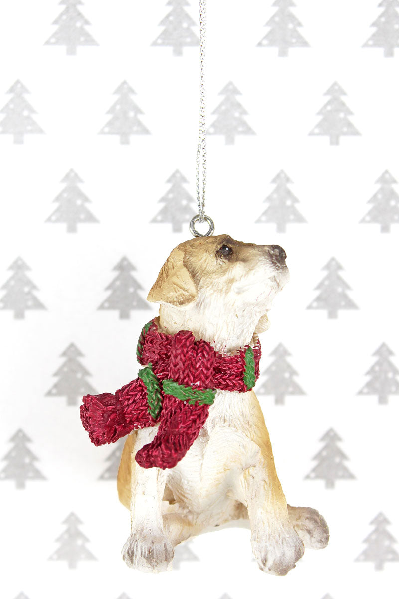 Festive Golden Retriever Resin Ornament