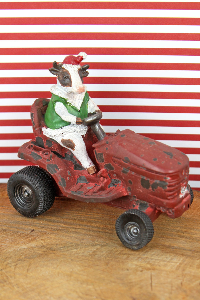 4 x 4.5 Christmas Cow on Tractor Resin Tabletop Decor