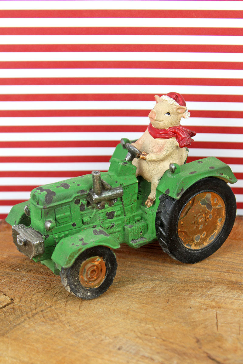 3.75 x 4.75 Christmas Pig on Tractor Resin Tabletop Decor