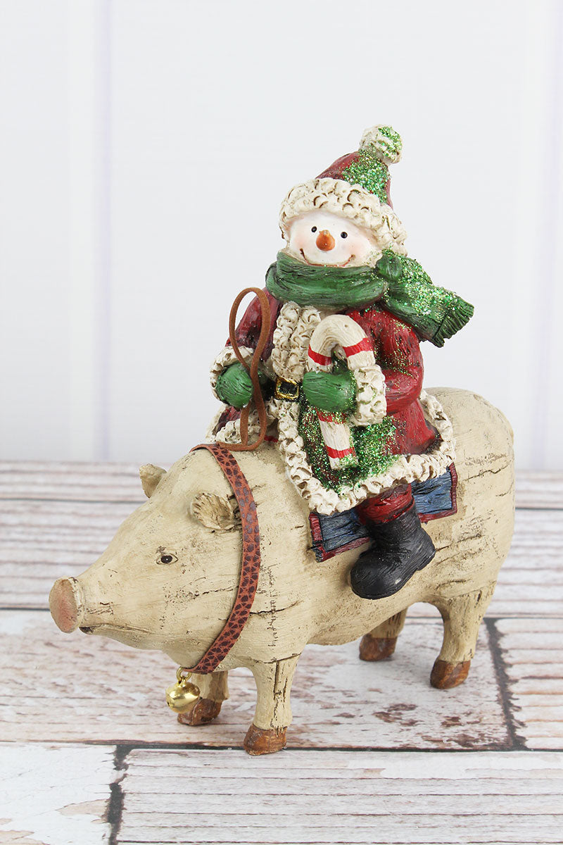 8 x 7.25 St. Nick Snowman Pig Resin Figurine
