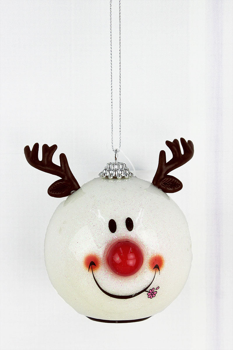 Blinking Happy Reindeer Ornament, 4""