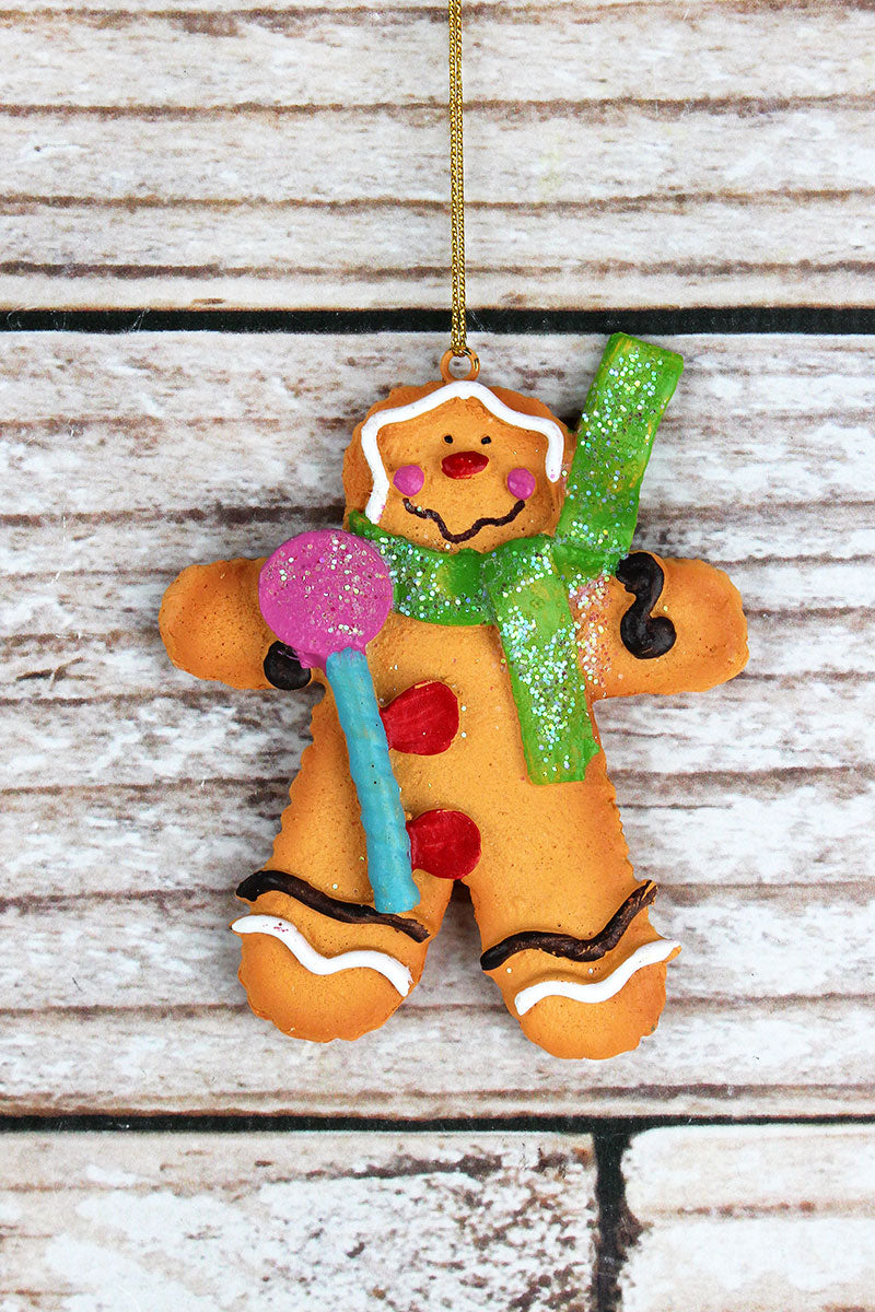 4 x 3.25 Holiday Gingerbread Man Resin Ornament