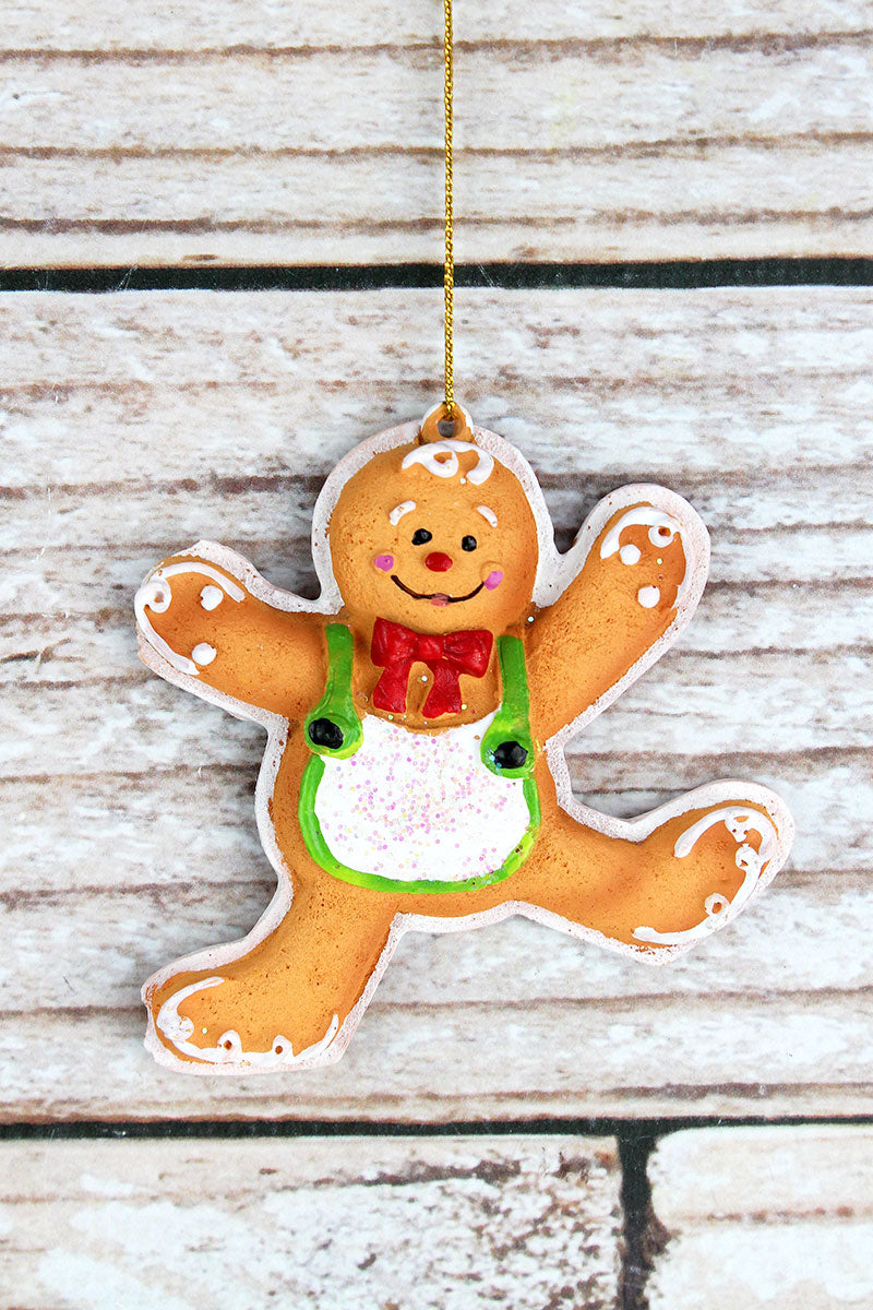 3.5 x 3.5 Festive Gingerbread Man Resin Ornament