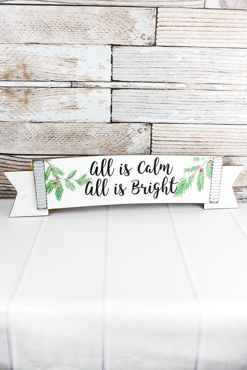 7.25 x 29.25 'All Is Bright' Wood and Metal Wall Banner