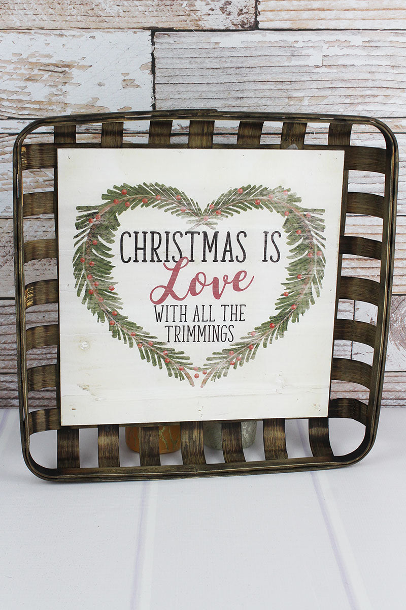17 x 17 'Christmas Is Love' Wood Tobacco Basket