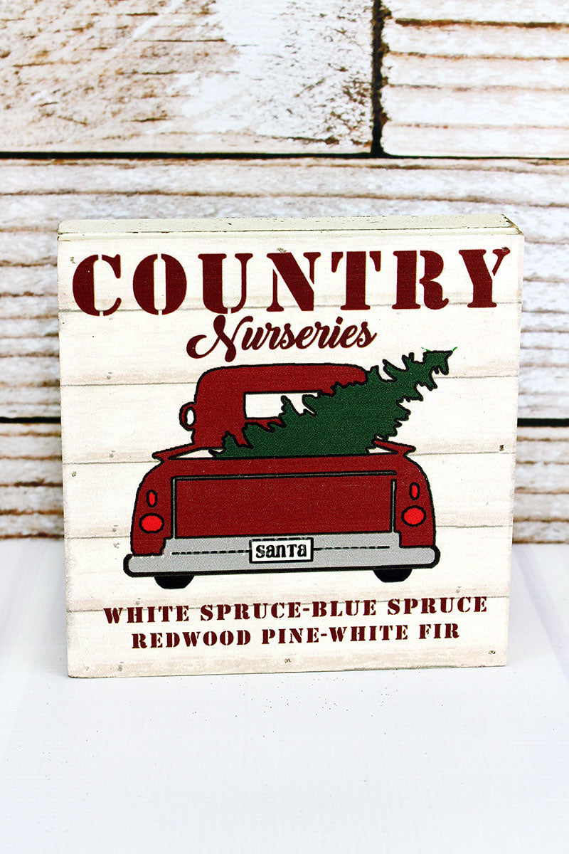 6 x 6 'Country Nurseries' Farm Truck Wood Box Sign