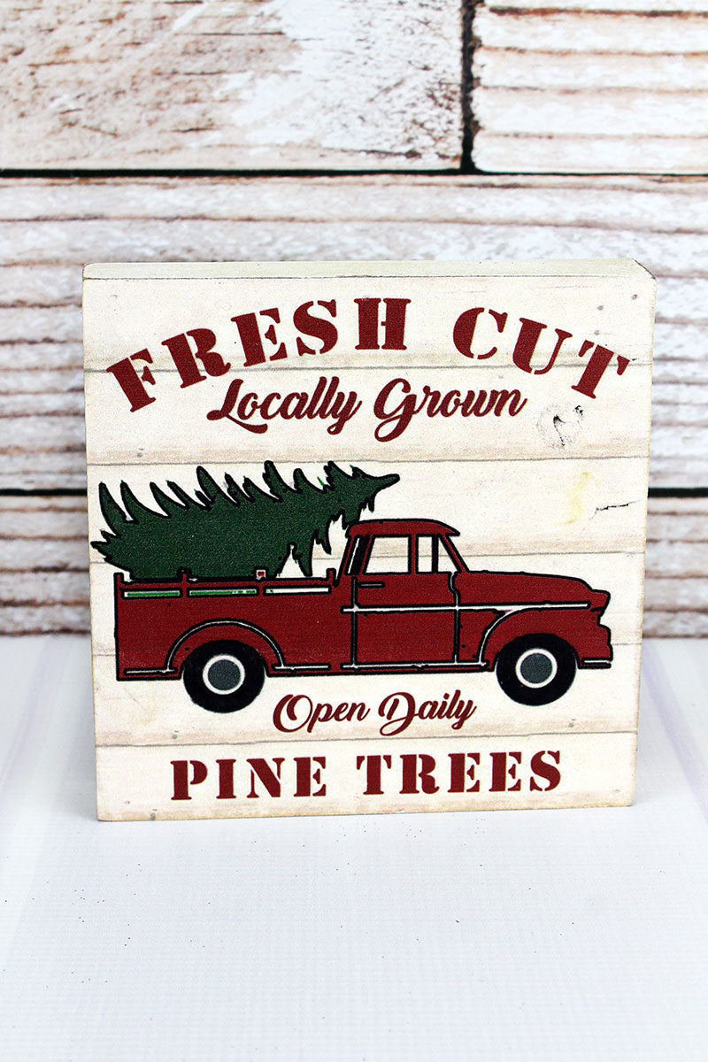 6 x 6 'Fresh Cut Pine Trees' Farm Truck Wood Box Sign