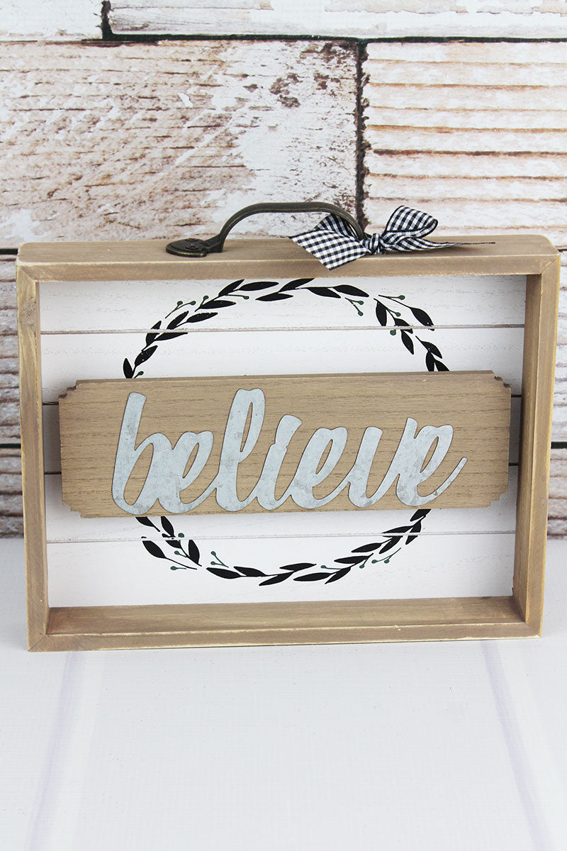8.5 x 9.75 'Believe' Wood with Metal Drawer Box Sign