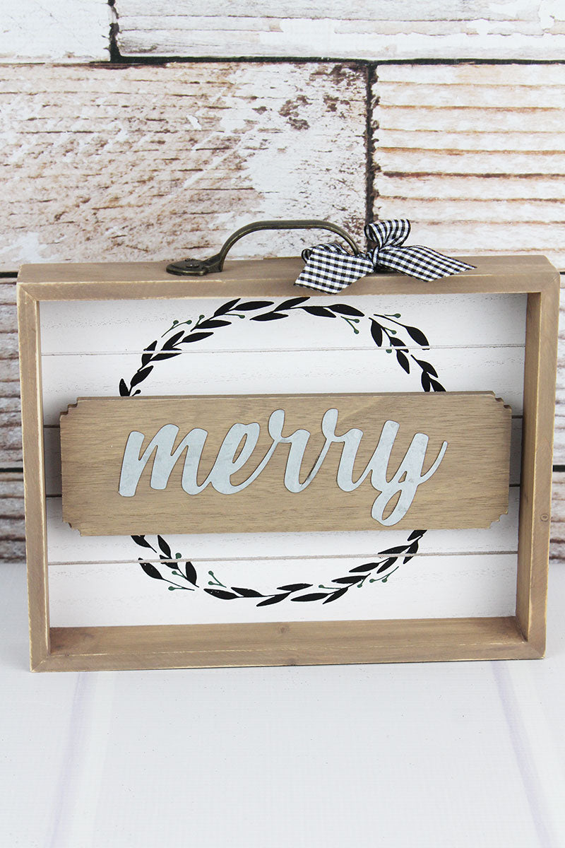 8.5 x 9.75 'Merry' Wood with Metal Drawer Box Sign
