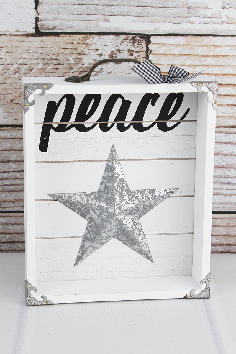 10.25 x 8 'Peace' Wood with Metal Star Drawer Box Sign