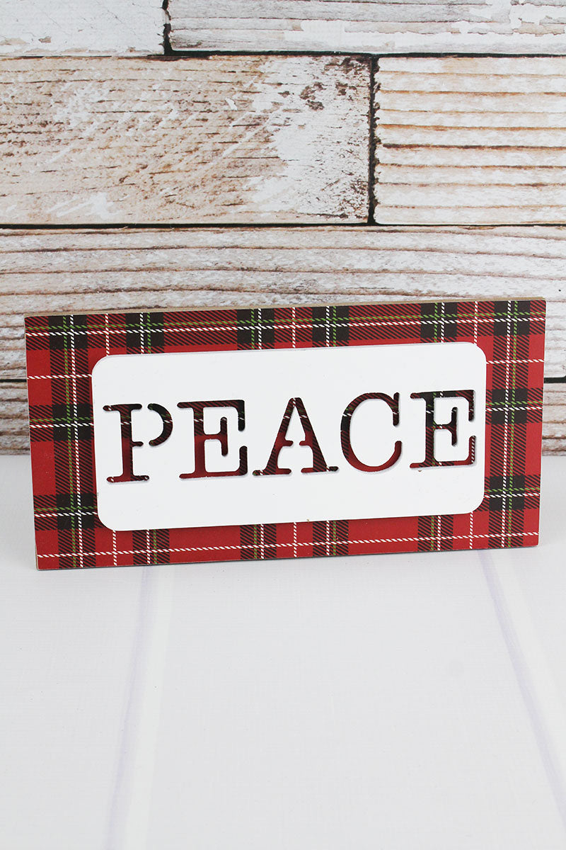6 x 12 'Peace' Cut-Out White and Plaid Wood Wall Sign