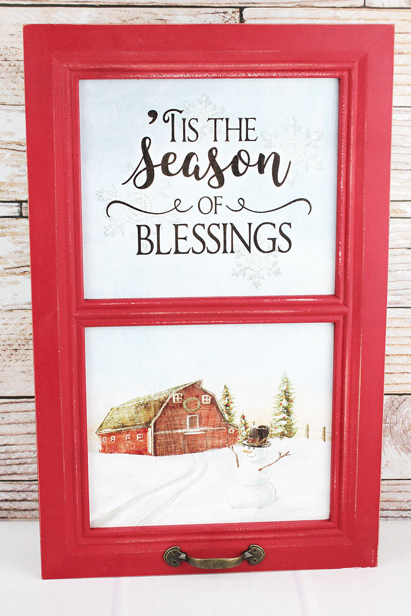 23.5 x 15 'Season Of Blessings' Barn Window Wall Decor