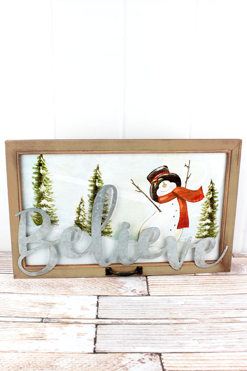 15 x 24 'Believe' Snowman Window Wall Decor