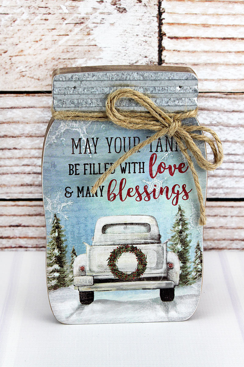 8.5 x 5.25 'Tank Be Filled' Christmas Mason Jar Block Sign
