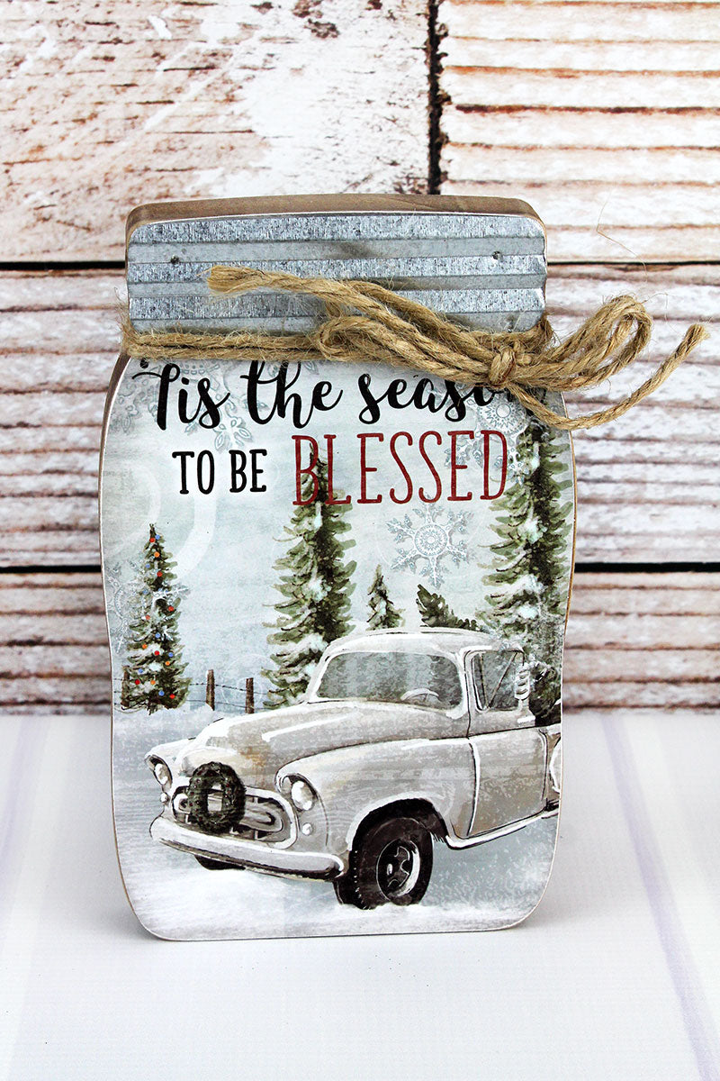 8.5 x 5.25 'Season To Be Blessed' Christmas Mason Jar Block Sign