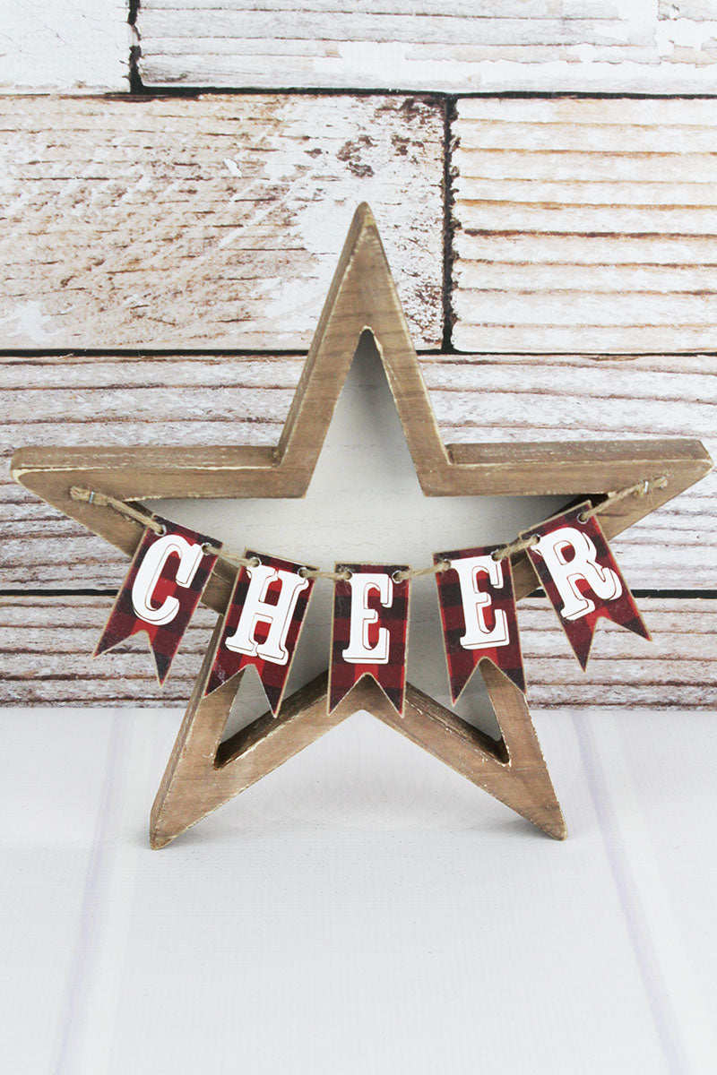 10.25 x 10.25 'Cheer' Plaid Pennant Wood and Metal Christmas Star