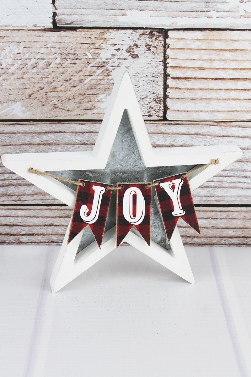 10.25 x 10.25 'Joy' Plaid Pennant Wood and Metal Christmas Star