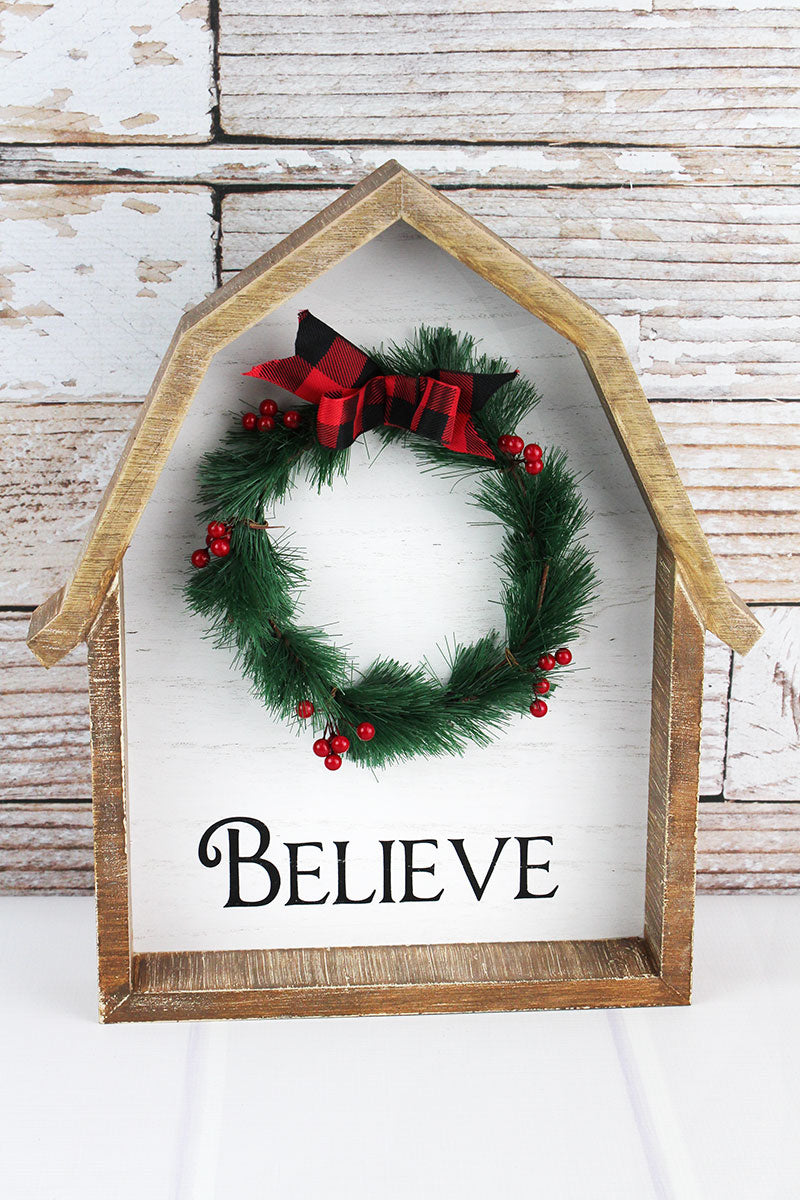15.75 x 13.25 'Believe' Wreath Wood Barn Shadow Box