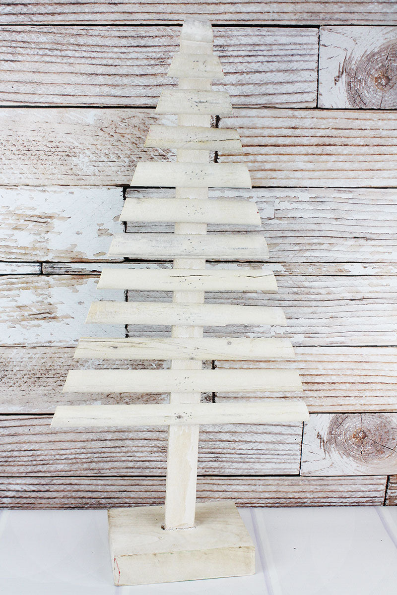 29 x 14 White Washed Wood Graduated Tree