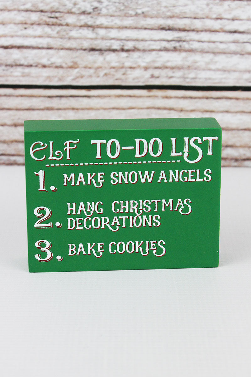 3 x 4 'Elf To-Do List' Wood Block Sign
