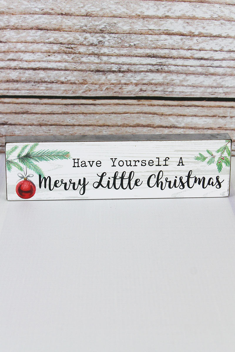 2 x 7.5 'Merry Little Christmas' Metal Trimmed Wood Block Sign