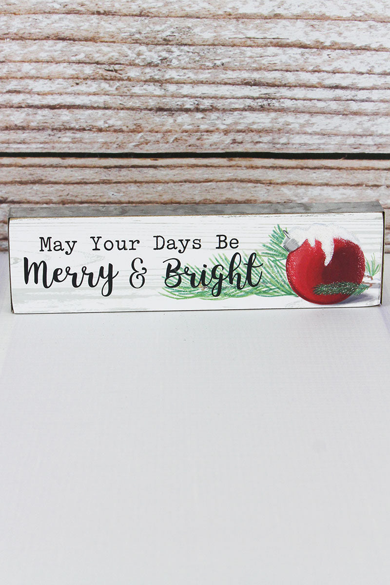 2 x 7.5 'Merry & Bright' Metal Trimmed Wood Block Sign