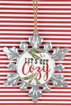 7 x 6.25 'Let's Get Cozy' Metal Snowflake Ornament