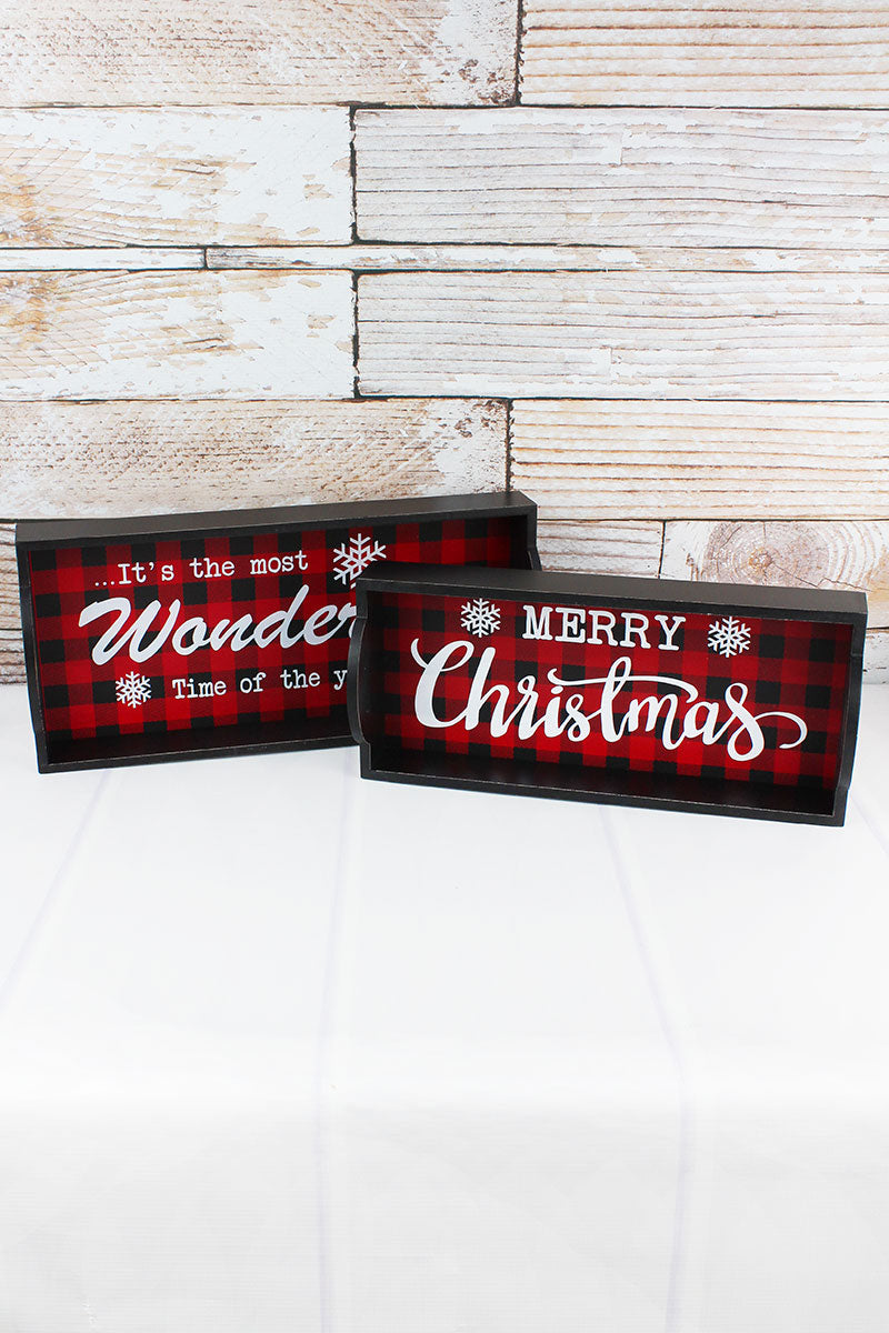 2 Piece Buffalo Plaid Christmas Serving Tray Set