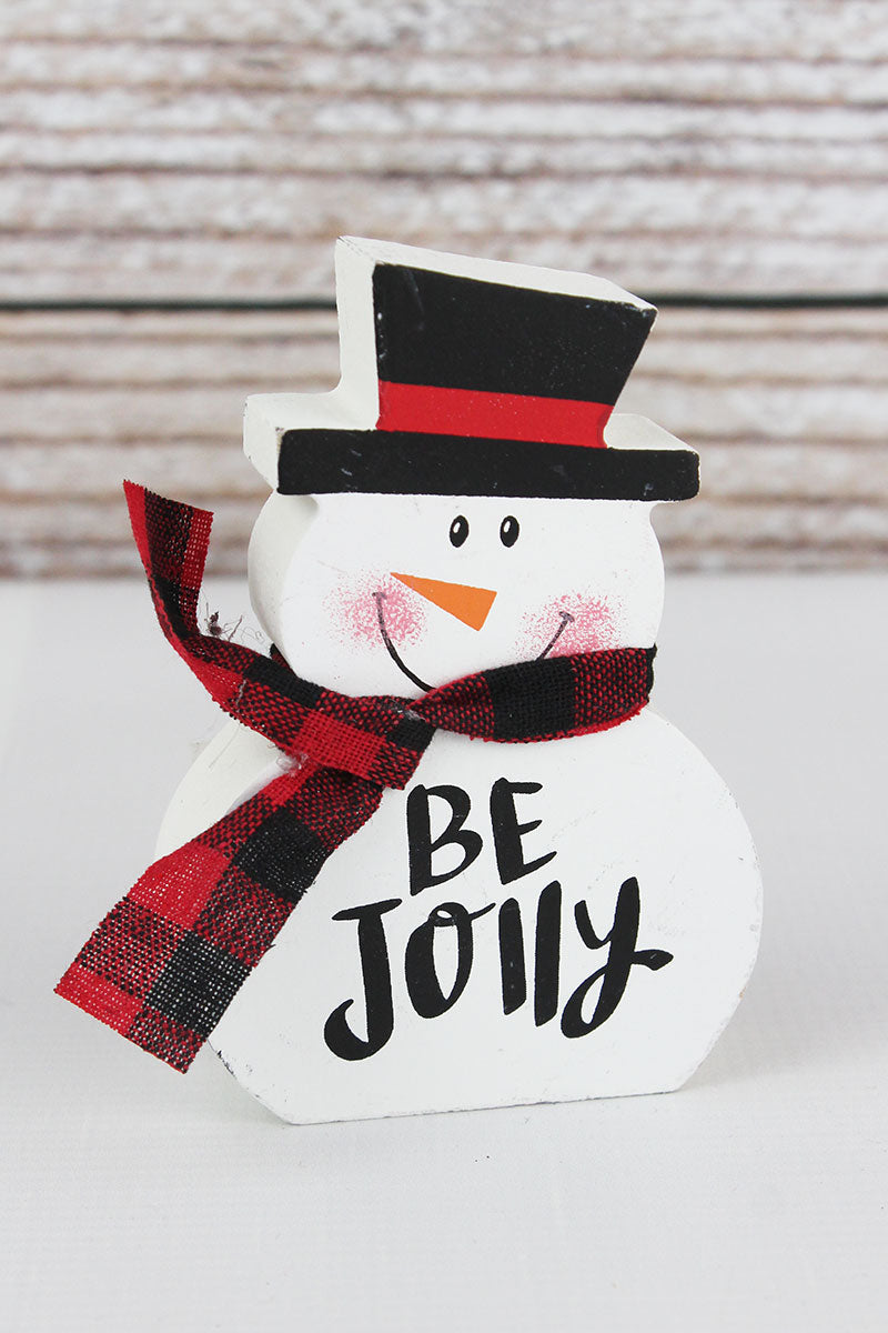 4.5 x 3 'Be Jolly' Wood Tabletop Snowman