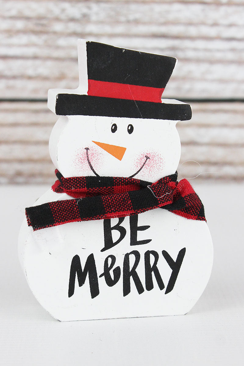 4.5 x 3 'Be Merry' Wood Tabletop Snowman