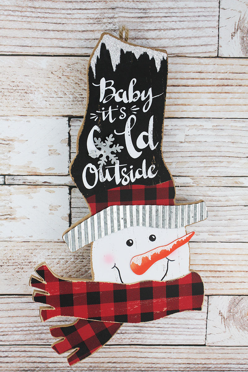 24.25 x 13.5 'Baby It's Cold Outside' Wood Snowman Head Wall Sign